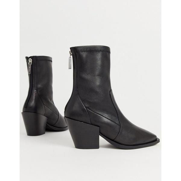 オフィス レディース ブーツ&レインブーツ シューズ Office Ashen black leather mid heeled ankle boots Black leather