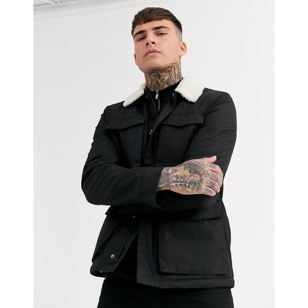 エイソス メンズ ジャケット&ブルゾン アウター ASOS DESIGN jacket with wax finish and fleece collar in black Black