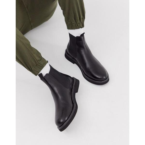 エイソス メンズ ブーツ&レインブーツ シューズ ASOS DESIGN chelsea boots in black leather with chunky sole Black