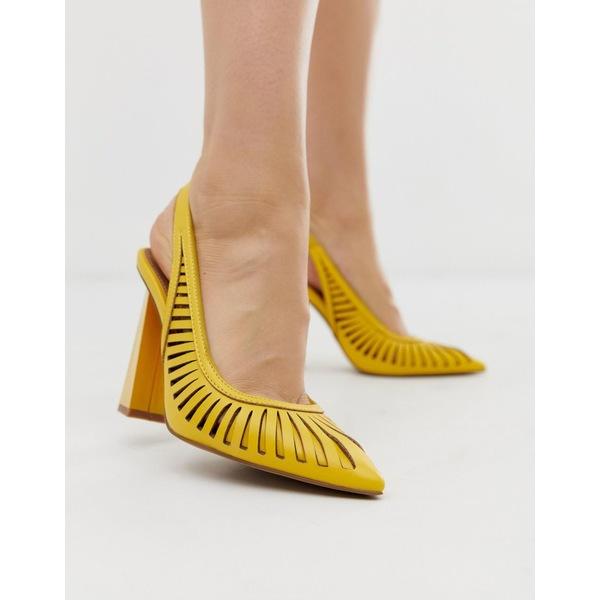 エイソス レディース ヒール シューズ ASOS DESIGN Pascha cut out sling back high heels in yellow Yellow