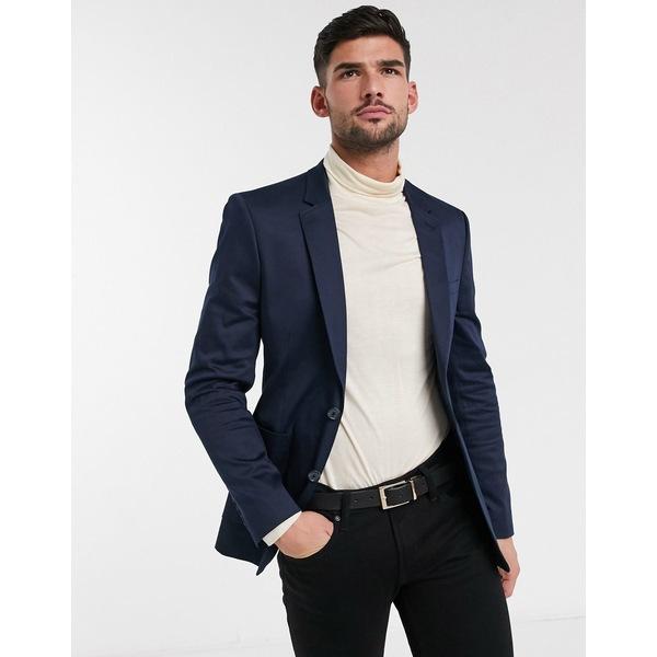 エイソス メンズ ジャケット&ブルゾン アウター ASOS DESIGN skinny blazer in navy cotton Navy