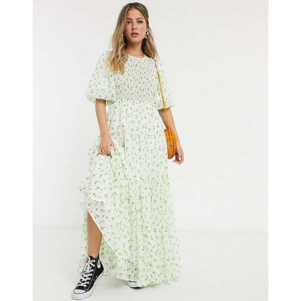 エイソス レディース トップス ワンピース White based floral 全商品無料サイズ交換 エイソス レディース ワンピース トップス ASOS DESIGN shirred tiered maxi dress in ditsy floral print White based floral