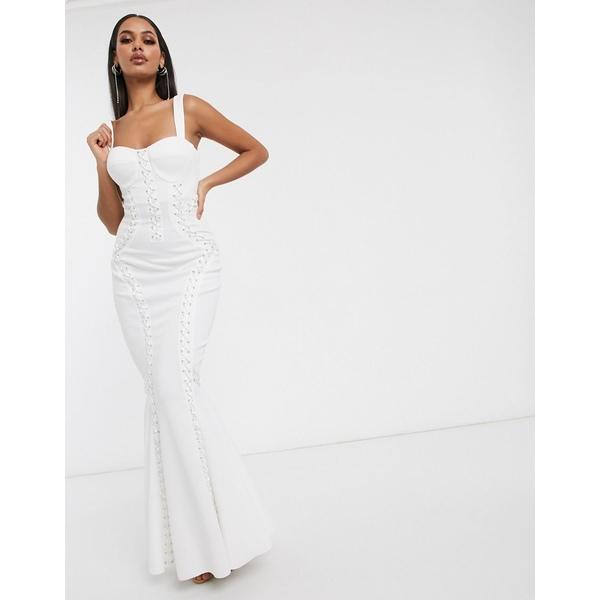 エイソス レディース トップス ワンピース White 全商品無料サイズ交換 エイソス レディース ワンピース トップス ASOS DESIGN Premium extreme lace up cami maxi dress White