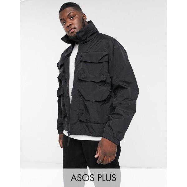 エイソス メンズ ジャケット&ブルゾン アウター ASOS DESIGN Plus jacket with funnel neck in black Black