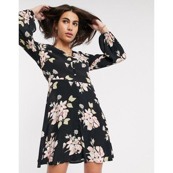 ウエアハウス レディース ワンピース トップス Warehouse floral print tea dress with button front in black Black
