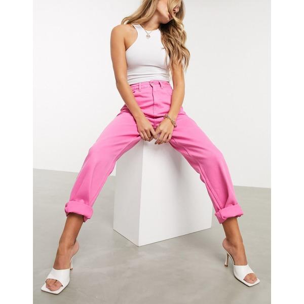 エイソス レディース デニムパンツ ボトムス ASOS DESIGN High rise 'slouchy' mom jeans in hot pink Hot pink