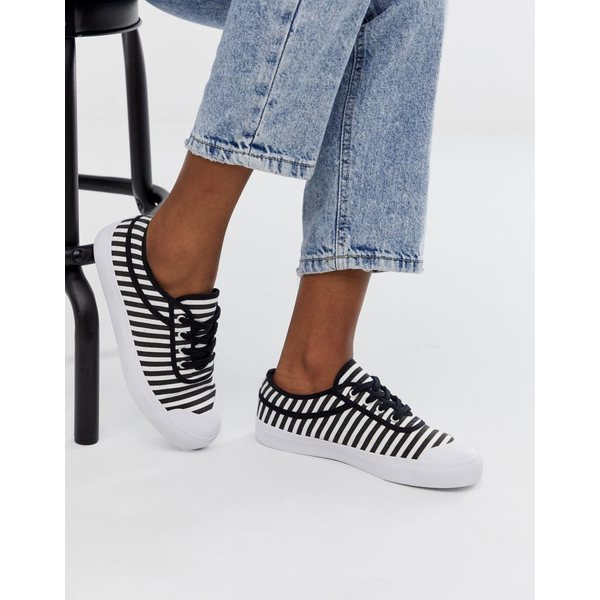 エイソス レディース スニーカー シューズ ASOS DESIGN Dependence sneakers in black and white stripe Black/white stripe