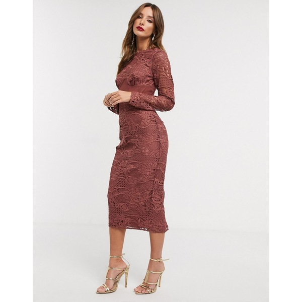 エイソス レディース ワンピース トップス ASOS DESIGN corset waist lace midi dress Washed plum