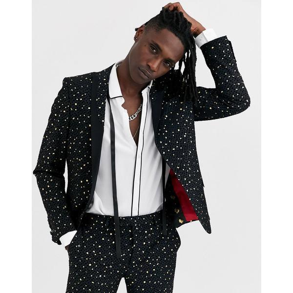 ツイステッドテイラー メンズ ジャケット&ブルゾン アウター Twisted Tailor super skinny suit tuxedo jacket with polka dot gold flock in black Black