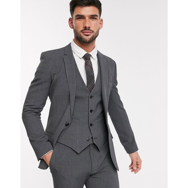 エイソス メンズ ジャケット&ブルゾン アウター ASOS DESIGN super skinny suit jacket in four way stretch in charcoal Charcoal