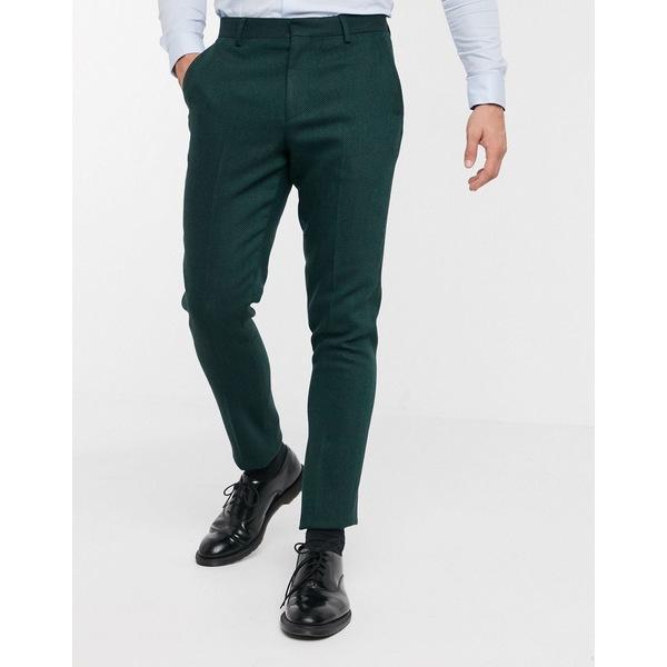 エイソス メンズ カジュアルパンツ ボトムス ASOS DESIGN wedding skinny suit pants in wool mix herringbone in forest green Green