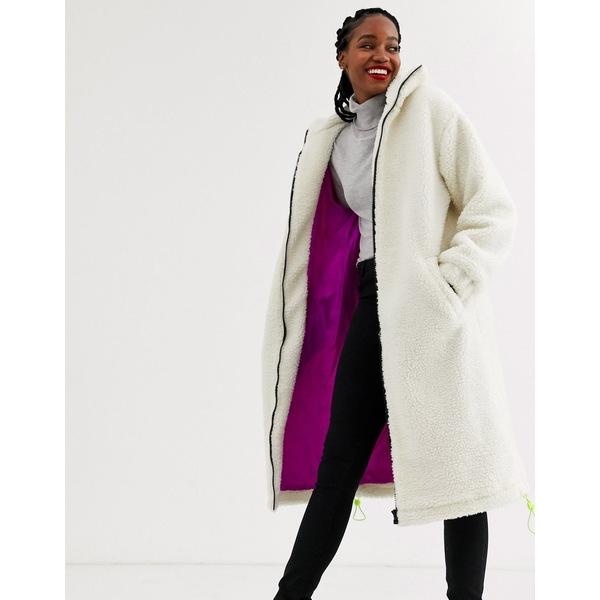 エイソス レディース ジャケット&ブルゾン アウター ASOS DESIGN longline fleece coat with neon trim detail in cream Cream