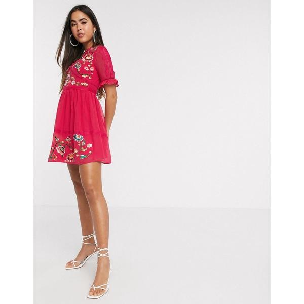 エイソス レディース ワンピース トップス ASOS DESIGN embroidered mini dress with lace trims in hot pink Hot pink