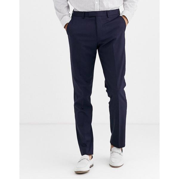 ハリー・ブラウン メンズ カジュアルパンツ ボトムス Harry Brown slim 50% wool split lapel navy dinner suit pants Navy