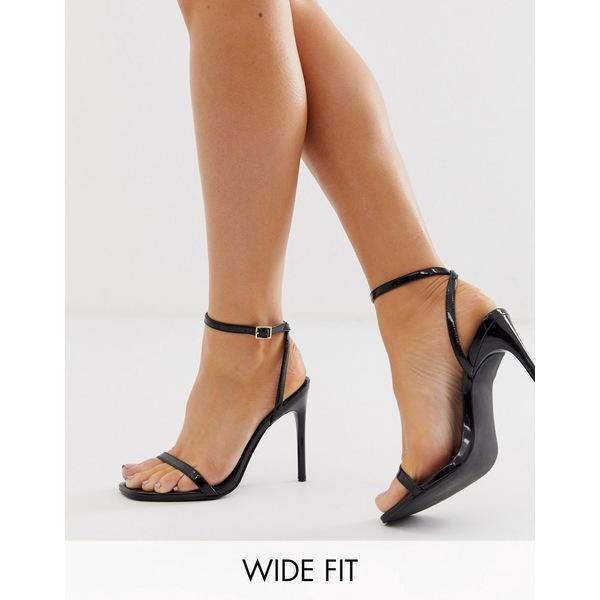 エイソス レディース サンダル シューズ ASOS DESIGN Wide Fit Nova barely there heeled sandals in black Black