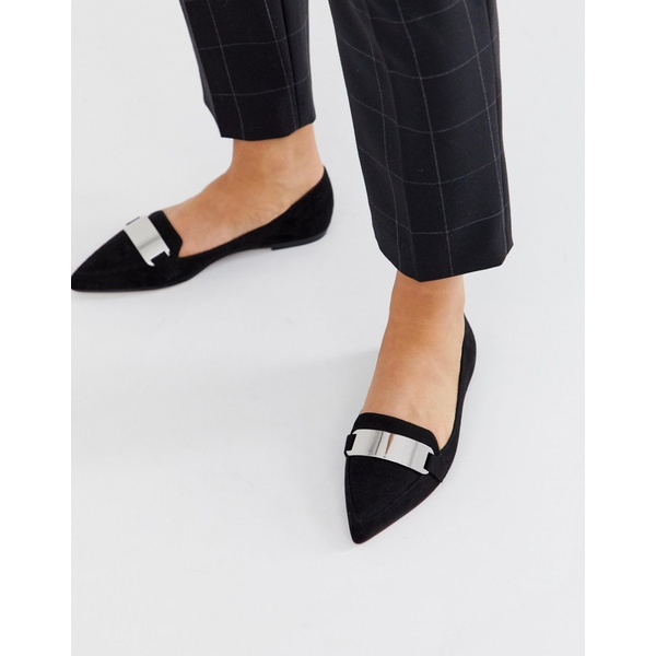 エイソス レディース サンダル シューズ ASOS DESIGN Leonie pointed loafer ballet flats in black Black
