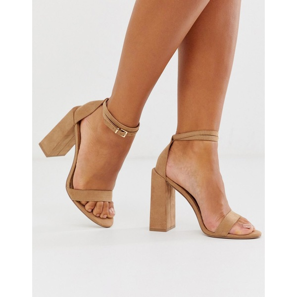 エイソス レディース ヒール シューズ ASOS DESIGN Highlight barely there block heeled sandals in beige Warm beige