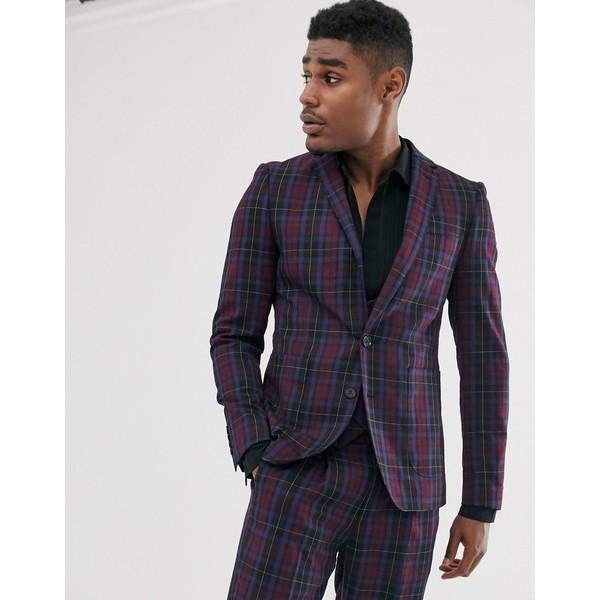 デヴィルズアドボケート メンズ ジャケット&ブルゾン アウター Devils Advocate skinny fit berry plaid check suit jacket Navy