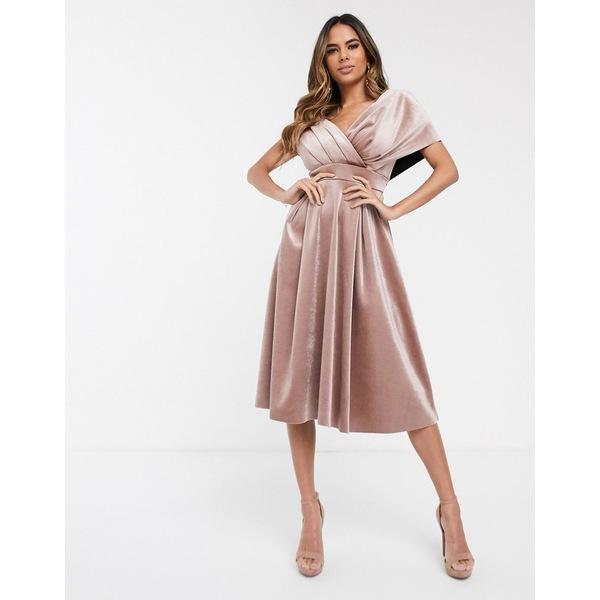 エイソス レディース ワンピース トップス ASOS DESIGN velvet fallen shoulder prom dress with tie detail Champagne