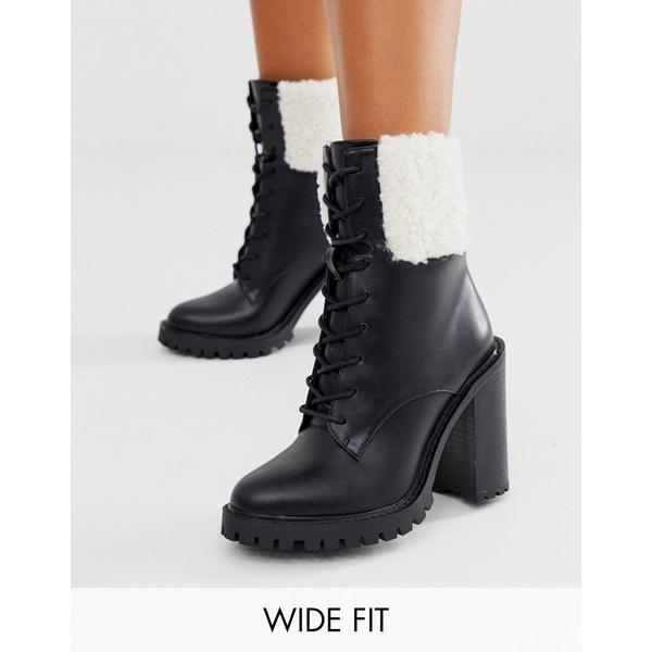 エイソス レディース ブーツ&レインブーツ シューズ ASOS DESIGN Wide Fit Earlsfield chunky borg lace up boots in black Black