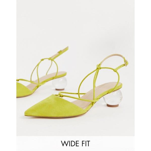 エイソス レディース ヒール シューズ ASOS DESIGN Wide Fit Sunset knotted ball heels in chartreuse Chartreuse
