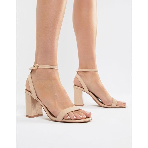 【コンビニ受取対応商品】 エイソス レディース ヒール シューズ ASOS DESIGN Hong Kong Barely There Block Heeled Sandals in warm beige Warm beige patent, 佐織町 afa8948d