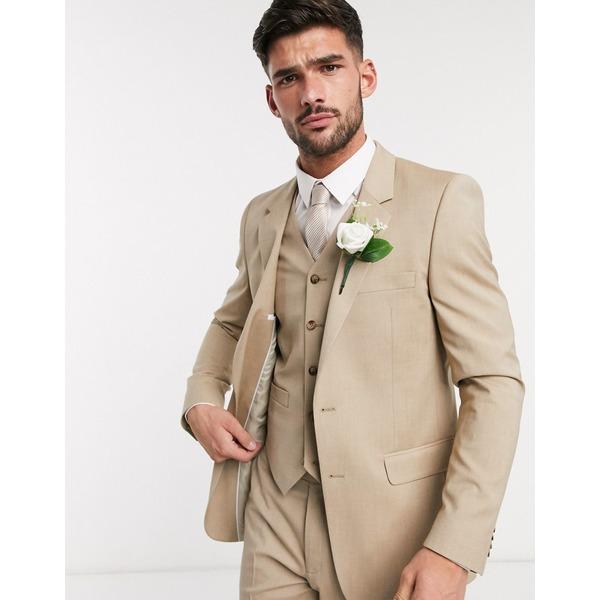 エイソス メンズ ジャケット&ブルゾン アウター ASOS DESIGN wedding slim suit jacket in stone Stone