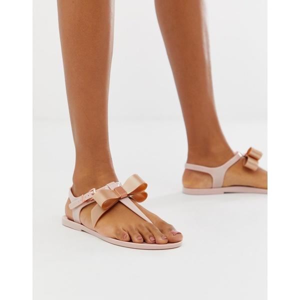 テッドベーカー レディース サンダル シューズ Ted Baker pink teiya jelly sandal with rose gold bow Pink
