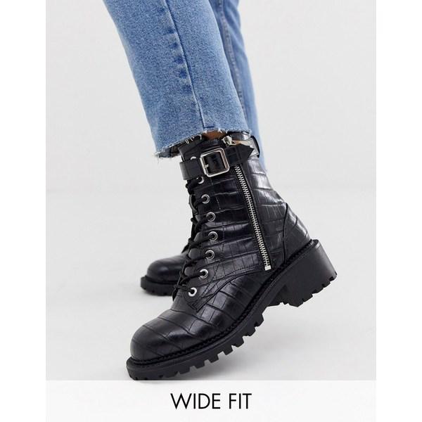 エイソス レディース ブーツ&レインブーツ シューズ ASOS DESIGN Wide Fit Anya hardware lace up ankle boots in black croc Black croc