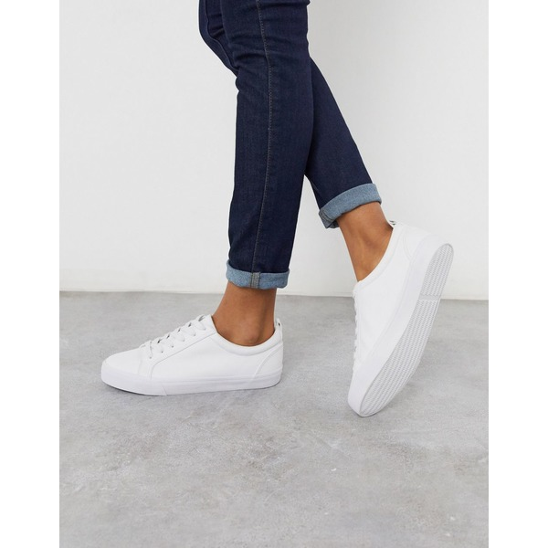 エイソス レディース スニーカー シューズ ASOS DESIGN Dunn lace up sneakers in white White