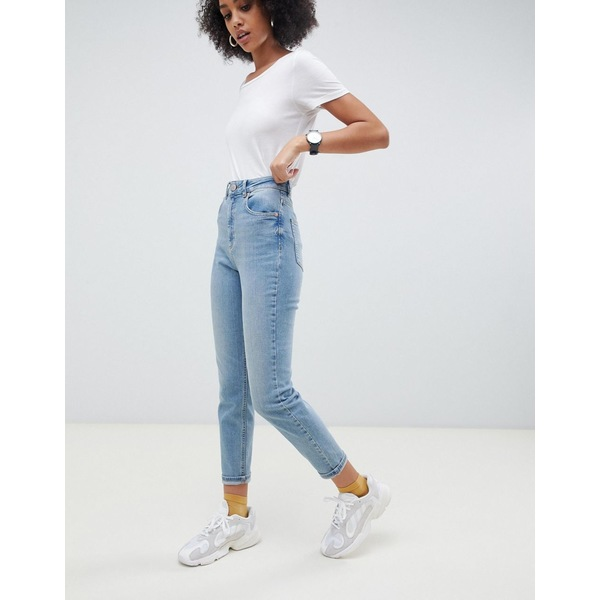 エイソス レディース デニムパンツ ボトムス ASOS DESIGN Farleigh high waisted slim mom jeans in light stone wash Blue
