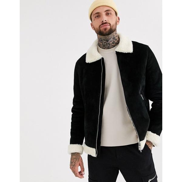 エイソス メンズ ジャケット&ブルゾン アウター ASOS DESIGN suede flight jacket in black with ecru fur Black