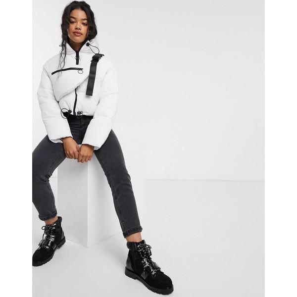 エイソス レディース ジャケット&ブルゾン アウター ASOS DESIGN tech puffer jacket with fanny pack in white White