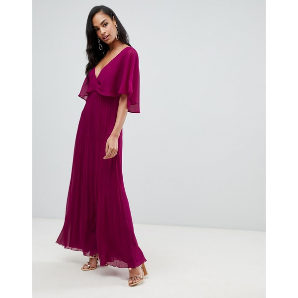 エイソス レディース ワンピース トップス ASOS DESIGN flutter sleeve maxi dress with pleat skirt Berry