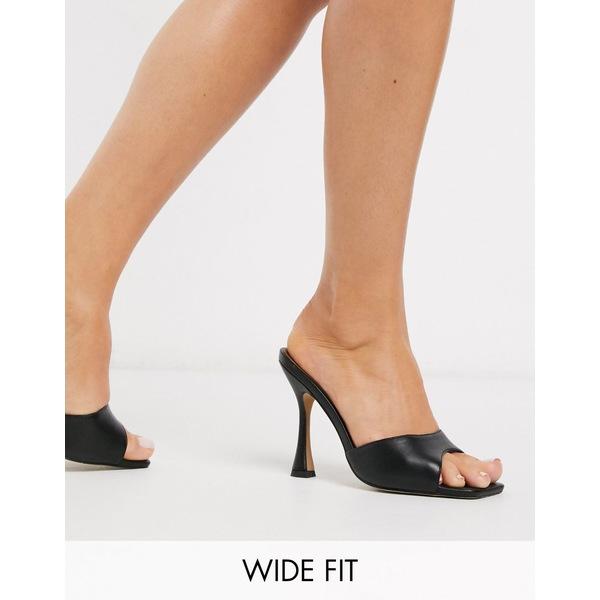 エイソス レディース サンダル シューズ ASOS DESIGN Wide Fit Nero square toe mules in black Black