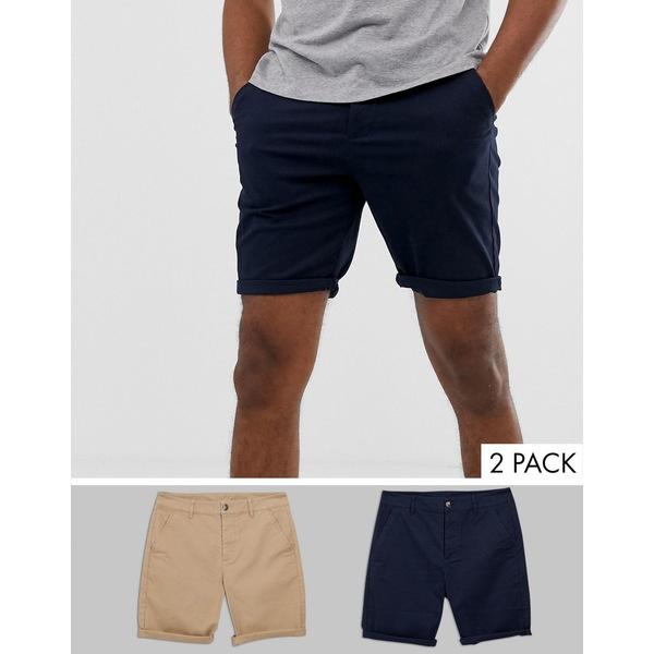 エイソス メンズ カジュアルパンツ ボトムス ASOS DESIGN Tall 2 pack slim chino shorts in stone & navy save Stone/navy