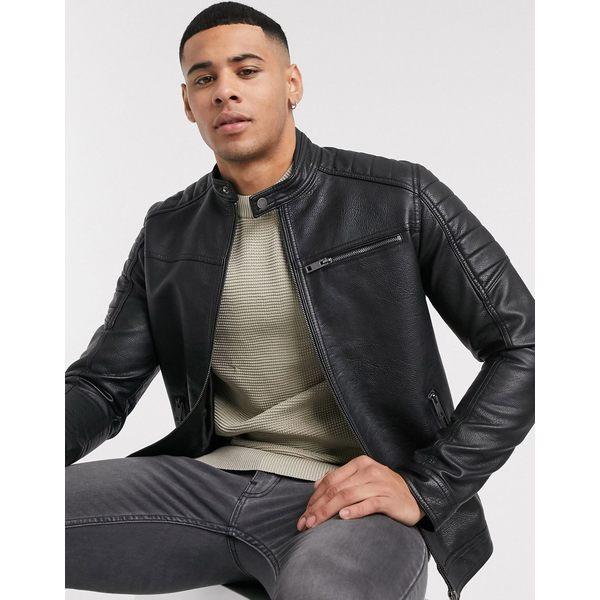 ジャック アンド ジョーンズ メンズ ジャケット&ブルゾン アウター Jack & Jones Essentials faux leather racer jacket in black Black