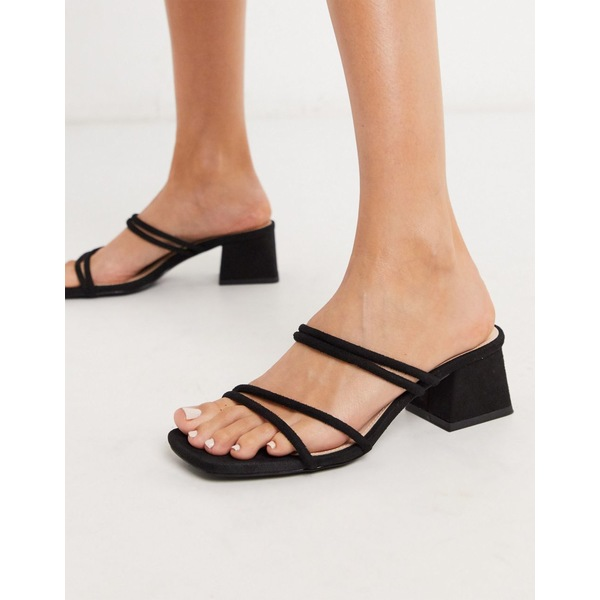 レイド レディース サンダル シューズ RAID Jaxson strappy mules sandals in black Black micro