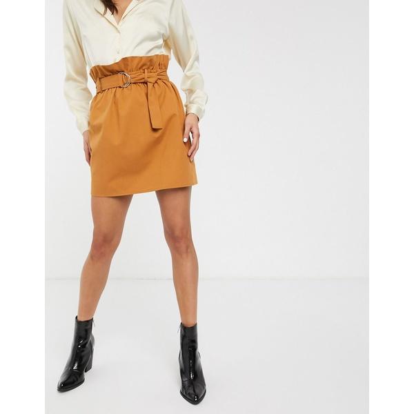 エイソス レディース スカート ボトムス ASOS DESIGN paperbag waist mini skirt with D ring belt Tan