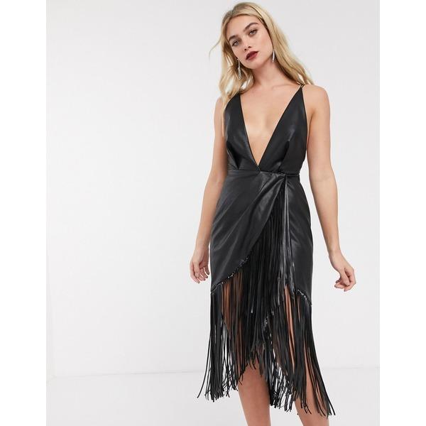 エイソス レディース ワンピース トップス ASOS DESIGN strappy back midi dress in PU with fringe hem Black