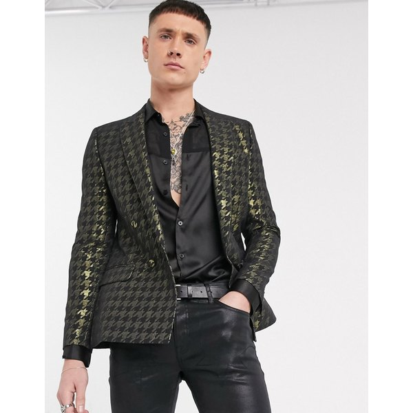 エイソス メンズ ジャケット&ブルゾン アウター ASOS DESIGN skinny double breasted blazer with houndstooth in gold Black