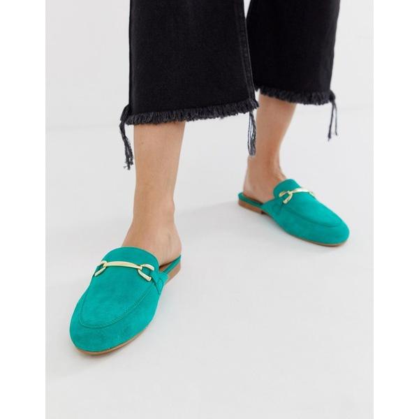 エイソス レディース サンダル シューズ ASOS DESIGN Moves suede mule loafers in green Bright green