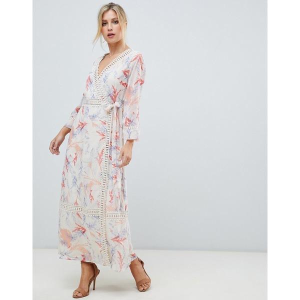 エイソス レディース ワンピース トップス ASOS DESIGN maxi dress with lace trim in soft floral print Multi