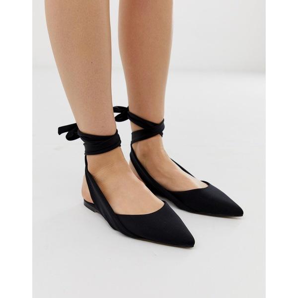 エイソス レディース サンダル シューズ ASOS DESIGN Laser tie leg ballet flats In black Black
