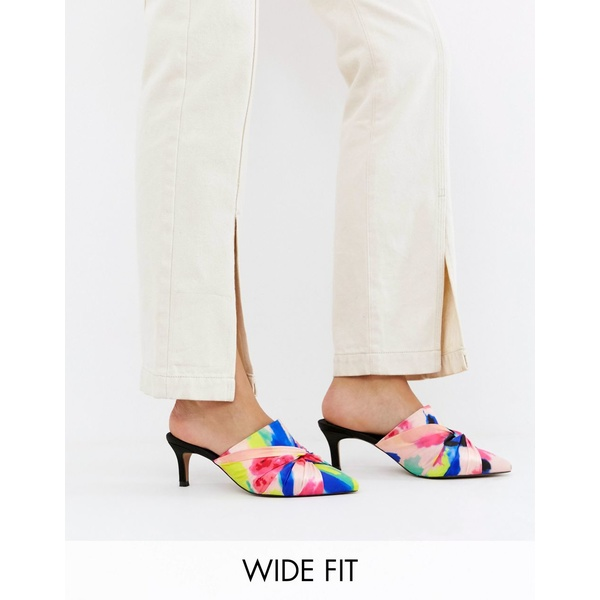 エイソス レディース サンダル シューズ ASOS DESIGN Wide Fit Salary knotted heeled mules Floral