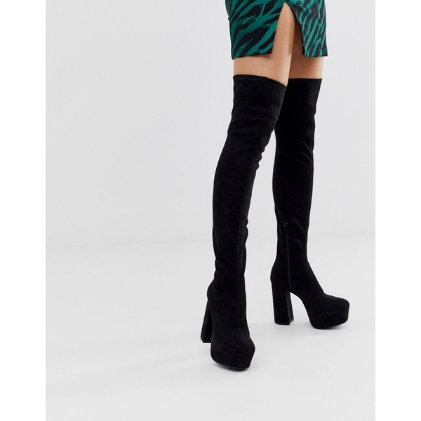 エイソス レディース ブーツ&レインブーツ シューズ ASOS DESIGN Knockout platform thigh high boots in black Black