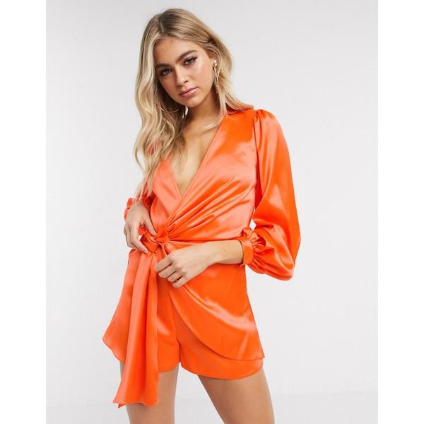 エイソス レディース ワンピース トップス ASOS DESIGN knot front satin romper Coral orange