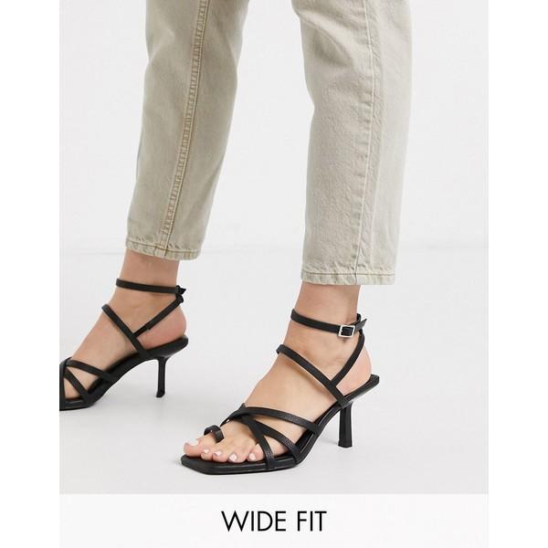エイソス レディース ヒール シューズ ASOS DESIGN Wide Fit Whittle toe loop mid-heeled sandals in black Black