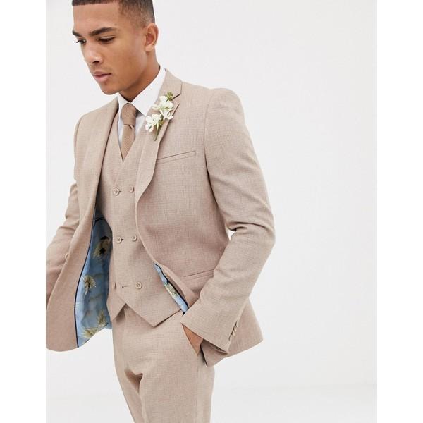 エイソス メンズ ジャケット&ブルゾン アウター ASOS DESIGN wedding slim suit jacket in camel cross hatch Camel