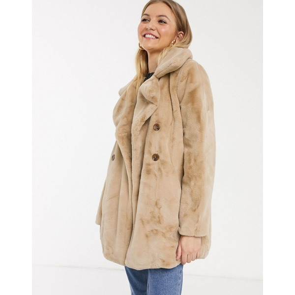 QEDロンドン レディース コート アウター QED London double breasted faux fur coat in biscuit Biscuit